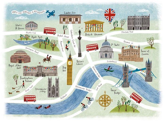 London Landmark Map By Sara Mulvanny SARAH MULVANNY