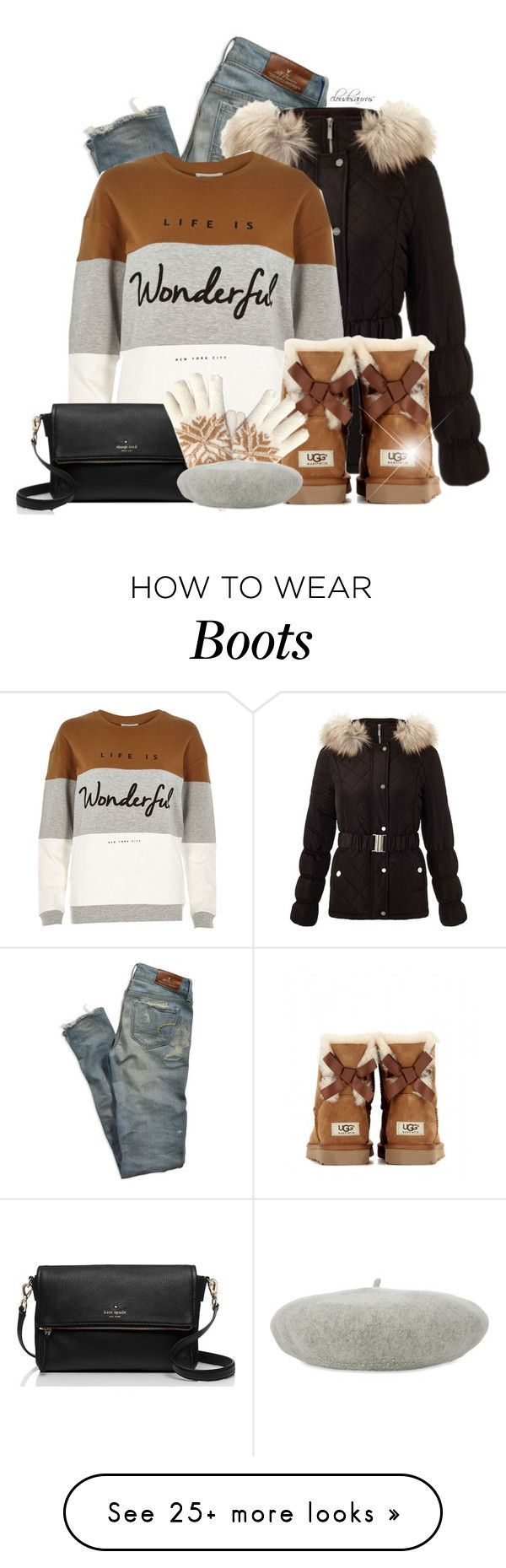 missing you by cloudosaurus on Polyvore featuring American Eagle Outfitters, Lipsy, River Island, UGG Australia, Kate Spade, Isotoner and William Sharp