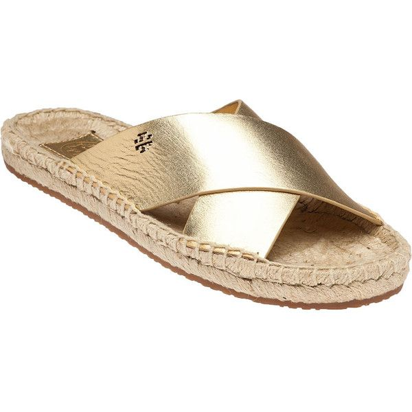 TORY BURCH Bima Met Gold Espadrille ($156) ❤ liked on Polyvore featuring shoes, sandals, gold leather, espadrilles shoes, rubber sole shoes, slip on sandals, gold shoes and gold espadrilles