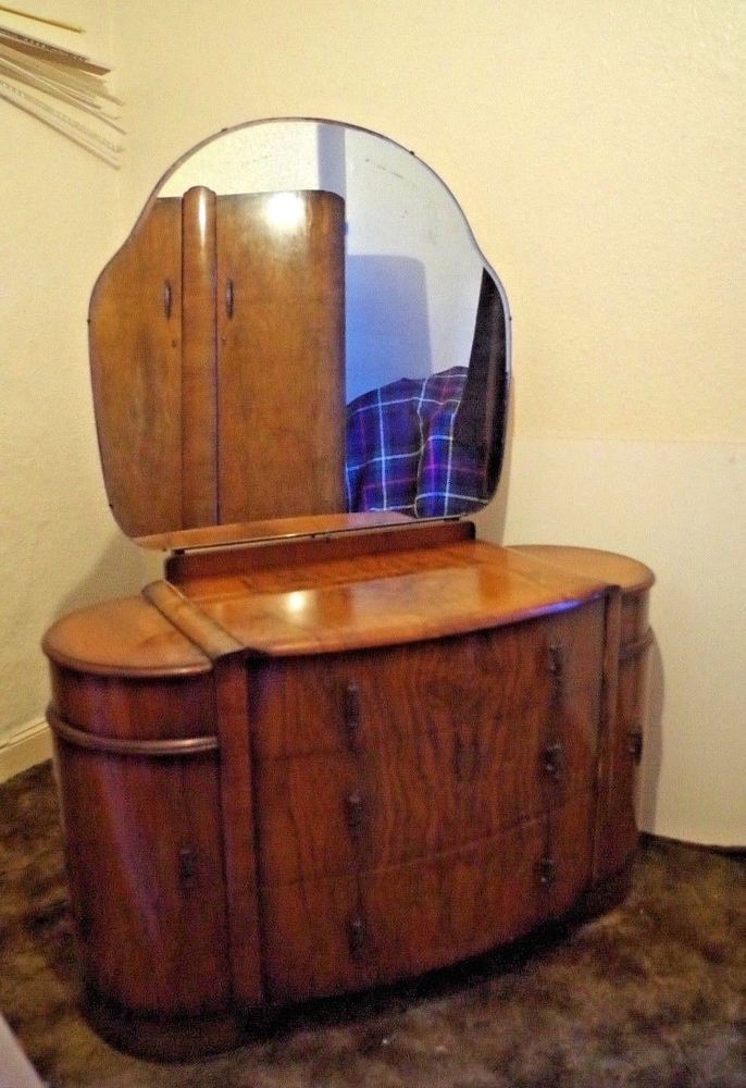 timeless design 2994e 59e24 Mid-Century Art Deco Walnut Shrager Dressing Table & Mirror ...