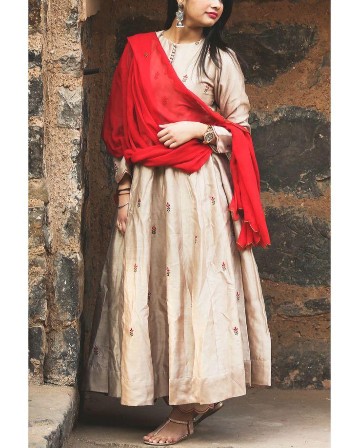 The Secret Label Beige Silk Embroidered Anarkali Suit