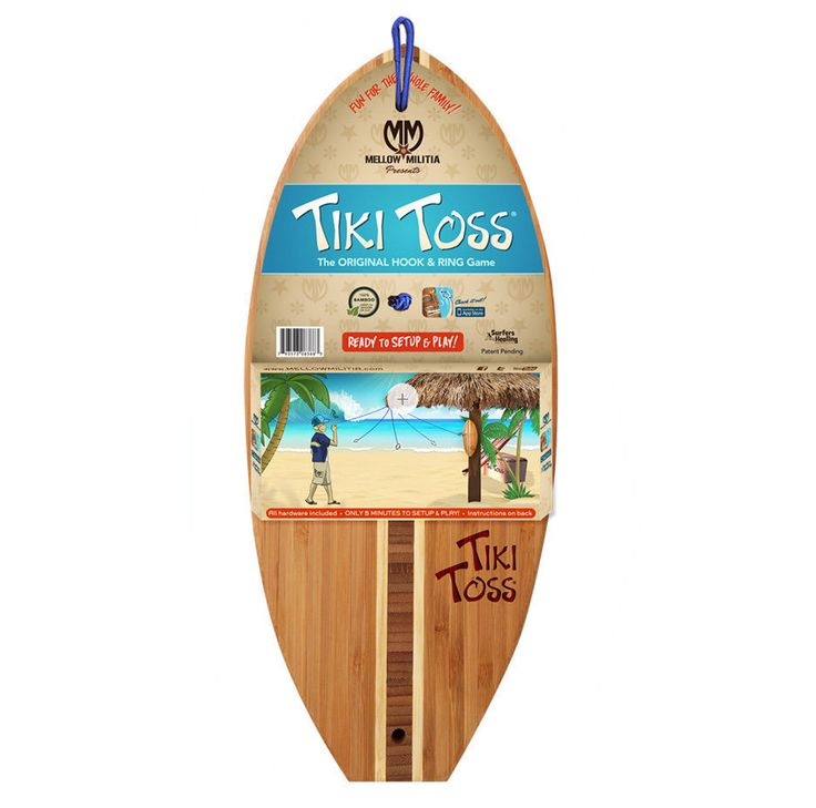 Tiki Toss Bamboo Surf Indoor Outdoor Board Fun Hook Ring