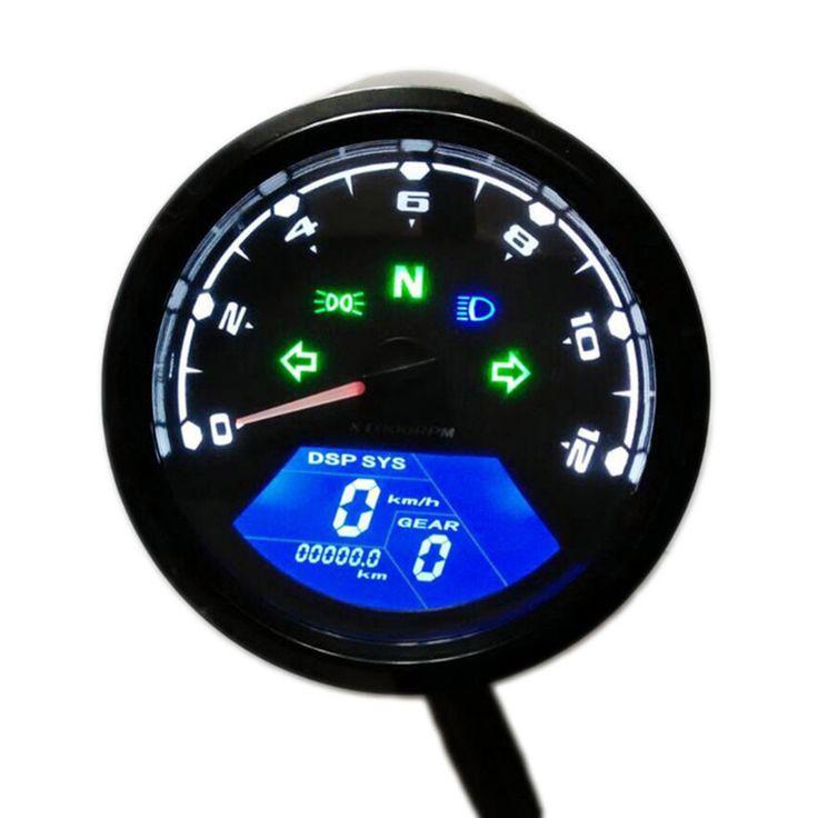 ABS Material 12000RPM LCD Digital Motorcycle Speedometer Odometer Tachometer F24 Cylinders