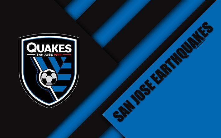 Download wallpapers San Jose Earthquakes, material design, 4k, logo, blue black abstraction, MLS, football, San Jose, California, USA, Major League Soccer