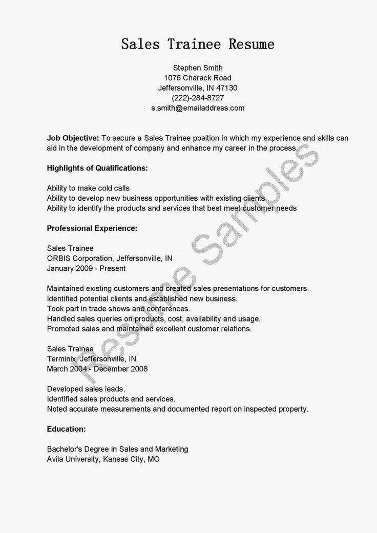 Sales trainee resume sample resume samples resame