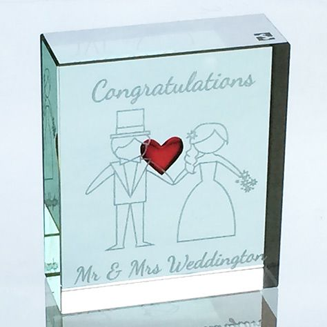 This token can be customised to include your own name - the perfect personal gift to celebrate your anniversary. #Love #Gift #Glass #Token #Happy #Anniversary #Spaceform #London