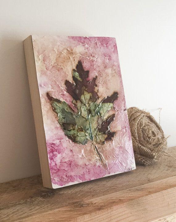 Metalic Maple Leaf 5 x 7 by TheSplatteredWall on Etsy