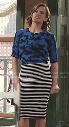 Chelsea's blue camouflage top and striped skirt on The Young and the Restless.  Outfit Details: https://wornontv.net/60022/ #TheYoungandtheRestless