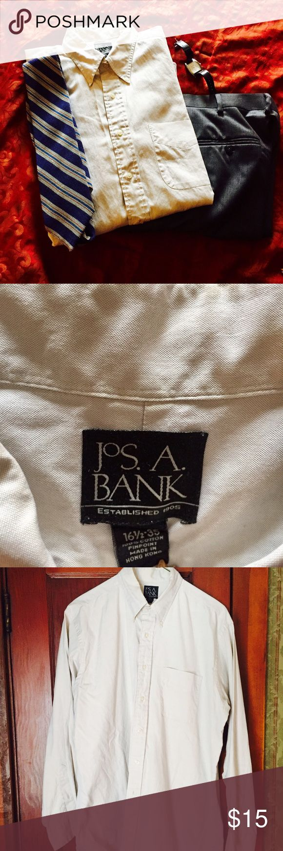 Jos.A.Bank 💯 % cotton button down casual shirt 💯 % Cotton comfortable button down casual shirt. 16 1/2neck, 35 arm length.  Perfect quality and lightly worn.  Goes with anything! A very light beige color. jos. A. Bank Shirts Casual Button Down Shirts