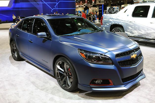 Chevy Malibu Turbo Performance Concept | SEMA, Auto Show, Las Vegas, Matte Blue, Red Accents, Black Ice Chrome Rims, Custom, Customized