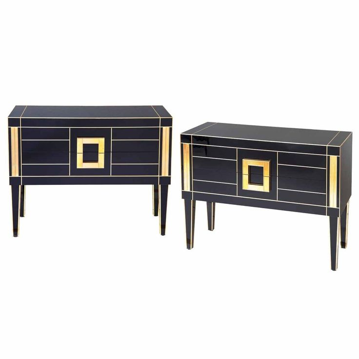 Commodes in Black and Gold Mirror with Two Drawers | From a unique collection of antique and modern commodes and chests of drawers at https://www.1stdibs.com/furniture/storage-case-pieces/commodes-chests-of-drawers/
