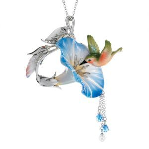 Franz Porcelain Hummingbird Rhodium Plated Brass