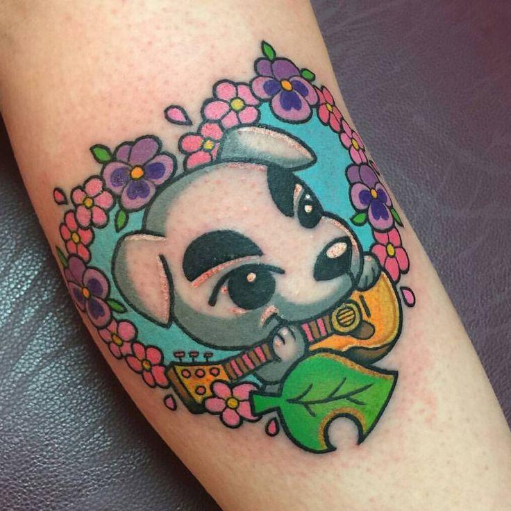 Cute K K Slider Animal Crossing tattoo with flower border