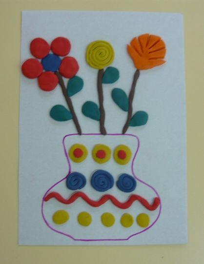 Пластилинография.  «Весенний букет». Фото