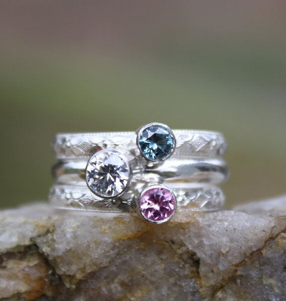 3 Gemstones, Birthstone Stacking Ring Set, 3 Family & Mother's Rings, two 4mm and one 5mm Gemstones, Sterling Silver, custom made on Etsy, $140.00