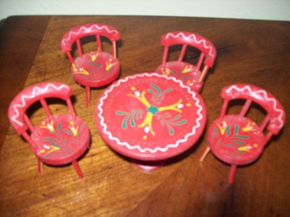 Vintage Doll House Furniture Red Kitchen Table and 4 Chairs Scandinavian via Etsy