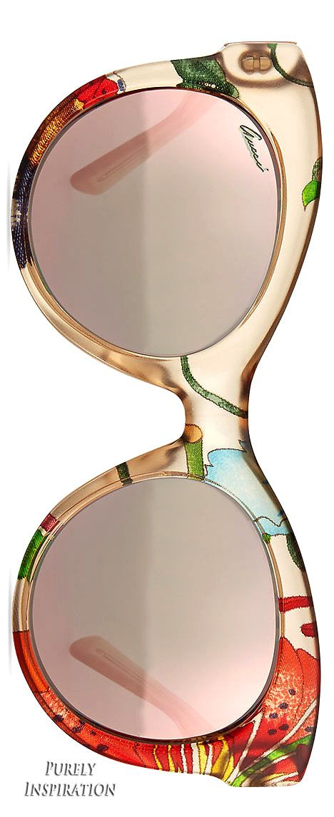 Gucci Fabric-Embed Round Sunglasses, Floral Beige   Purely Inspiration                                                                                                                                                      Mais