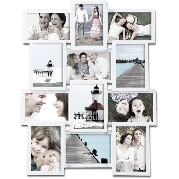 Adeco 12-photo Collage White Wood Picture Frame ($45) ❤ liked on Polyvore featuring home, home decor, frames, backgrounds, white, white collage picture frames, collage picture frames, wood frames, wood collage picture frames and 4x6 collage picture frames