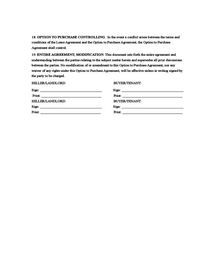 Rent to Own Agreement Sample Form