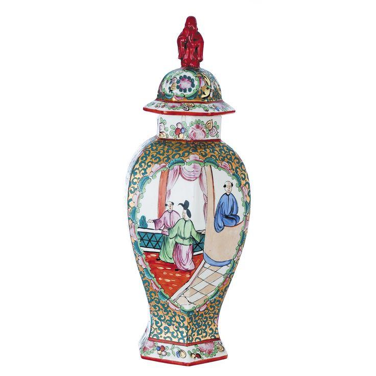 JARRÓN CHINO EN PORCELANA Jarrón chino policromado en porcelana. S.XX. Medidas: 36 x diam. 12'5 cm.