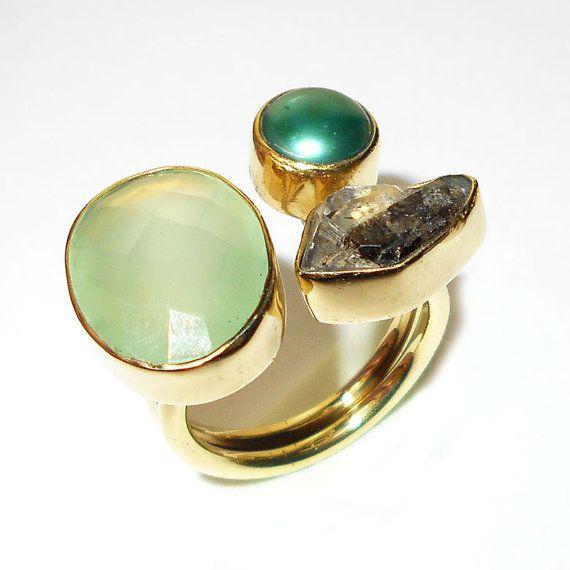 Anello di diamanti grezzi Herkimer  Handmade anello  Ring di Vedka