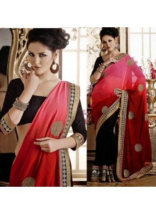 Butta Black, Red & Rose Pink Embroidered Saree