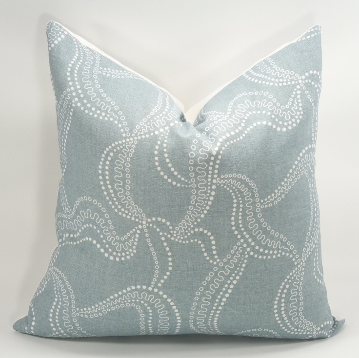 Sky Blue Decorative Pillows : Decorative Designer Throw Pillow Cover - Duralee - Giverney - Sky Blue - 18x18 - Linen ...