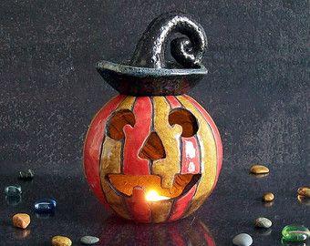 Portacandela zucca di Halloween in ceramica raku, diffusore oli essenziali, bruciatore oli essenziali, decorazione halloween, idea regalo