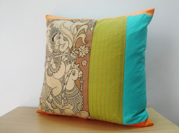 Hand Painted Kalamkari Cushion Cover, Decorative Pillow, throw Pillow made using Natural Vegetable Dyes