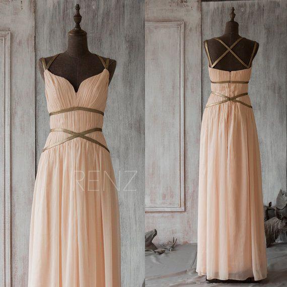 2016 Peach Brautjungfer Kleid Chiffon Prom Kleid lang von RenzRags