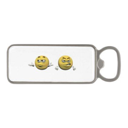 Yellow angry emoticon or smiley magnetic bottle opener - home decor design art diy cyo custom