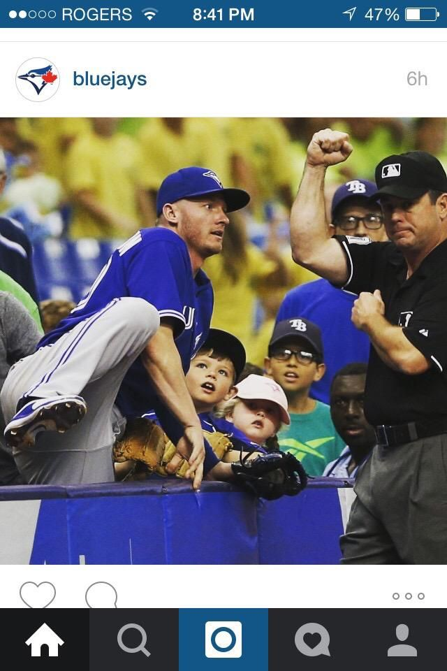 Future baseball players? Those kids faces! : ) In awe after Josh Donaldson's amazing catch.