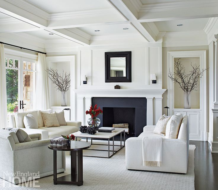 Tailored furnishings in quiet hues predominate in the for Tranquil living room