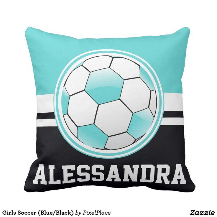 Blue And Black Pillows Part - 49: Girls Soccer (Blue/Black) Throw Pillow