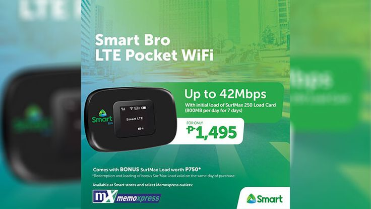 Buy the Smart Bro LTE Pocket Wifi for Php1,495 and get a FREE SurfMax load worth Php750