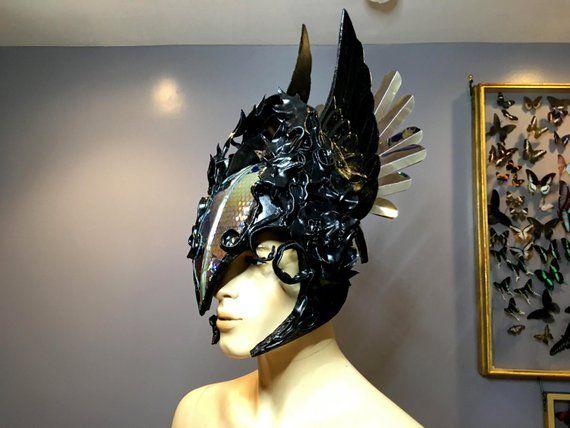 Black Holographic Alien Inspired Futuristic Warrior Mask Helmet