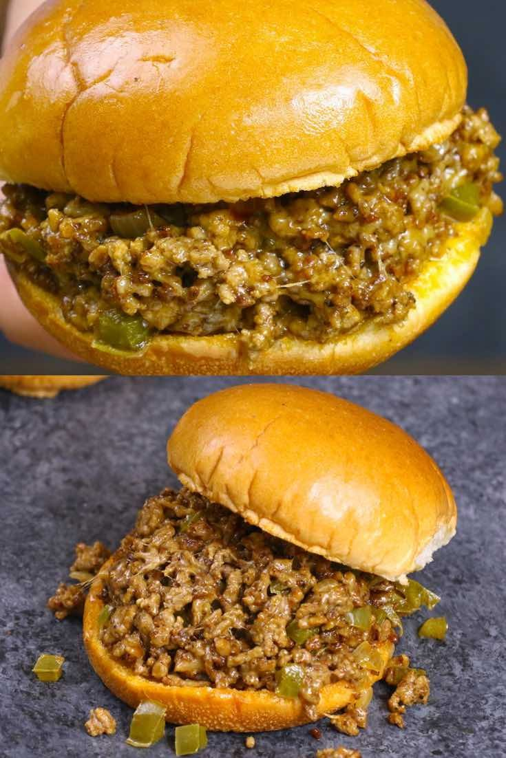 The easiest and most unbelievably delicious Philly Cheesesteak Sloppy Joes! And it'll be on your dinner table in just 30 minutes. All you need is only a few simple ingredients: ground beef, beef broth, Worcestershire sauce, catchup, cornstarch and hamburger buns. Quick and easy dinner or lunch recipe. Video recipe. | Tipbuzz.com