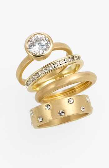 In love with these satin metal stackable rings.