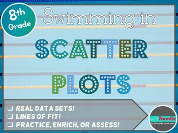 """In """"Swimming in Scatter Plots,"""" students will construct and analyze scatter plots using 100 years of Olympic swimming data.  Real data?  Lines of fit?  Cooperative learning?  Rich questions?  Yup.  It's all here."""