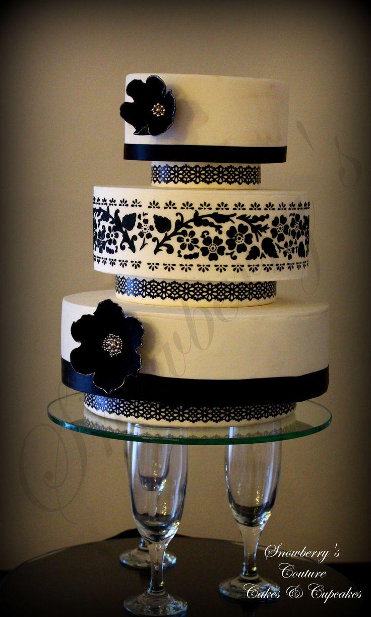 Black & White Stenciled Wedding Cake