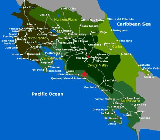 quepos costa rica   Costa Rica Map, Beach Towns Quepos, Manuel Antonio, Costa Rica, Road ...