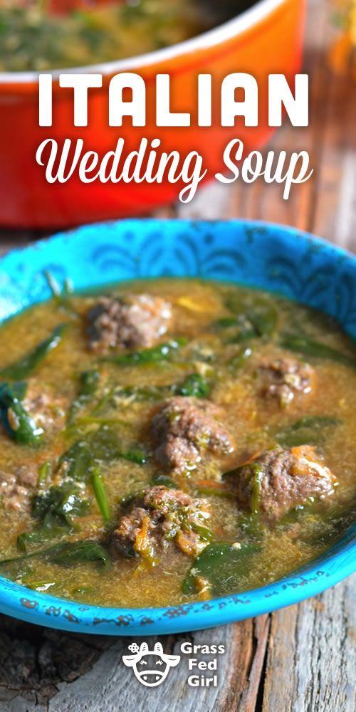 Italian Wedding Soup | http://www.grassfedgirl.com/grain-free-italian-wedding-soup-with-meatballs-gaps-scd-paleo-low-carb/