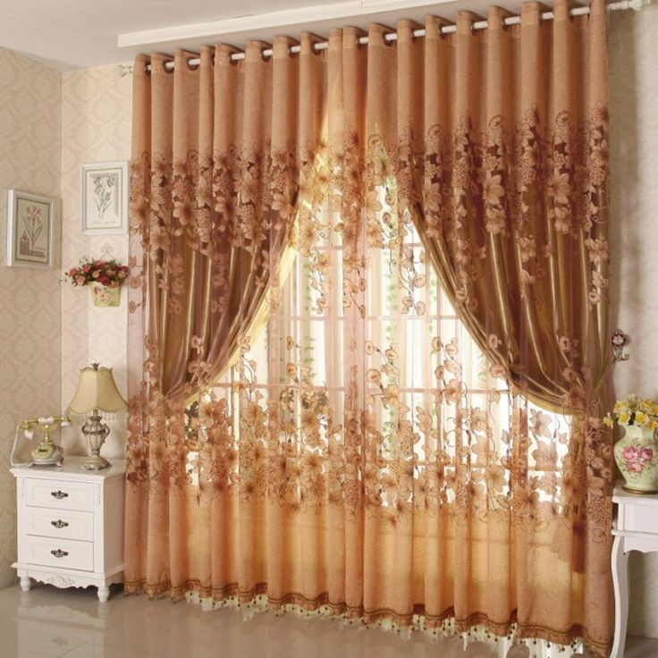 (1 PC Cloth Curtain And 1 PC Tulle)European Style Luxury Curtain Floral Embroidered Tulle Sheer Curtains For Living Room