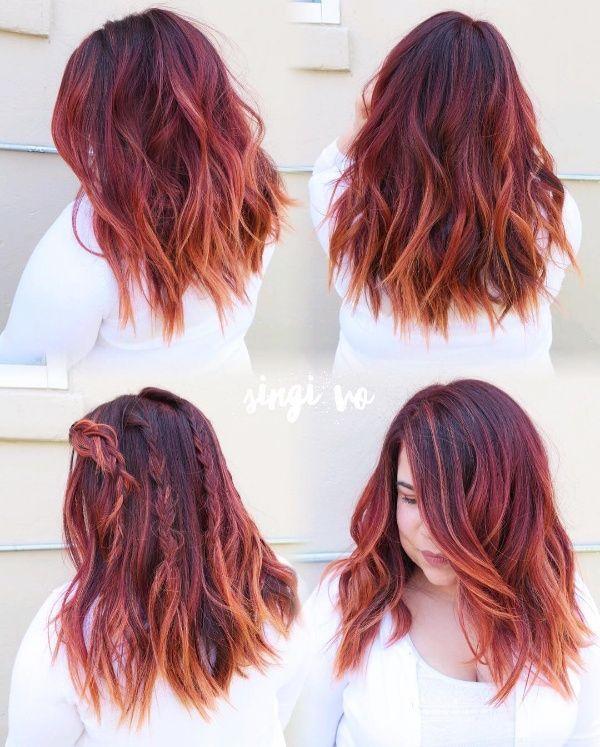 black hair with red peekaboo highlights