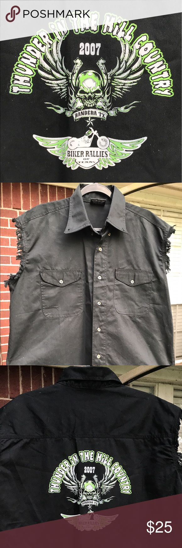 """Men's Black size Large Frayed Sleeveless Shirt Men's Graphic Black Size Large """"Thunder in The Hill Country"""" """"Bandera, TX"""" """"Biker Rallies in Texas"""" -- Frayed Sleeveless Button Shirt.  Can be worn as is or with a short sleeve or long sleeve t-shirt. Chest 25"""" Length 33"""" is 100% cotton.  Thick Shirt comes with extra buttons. Allstate Denim Shirts Casual Button Down Shirts"""