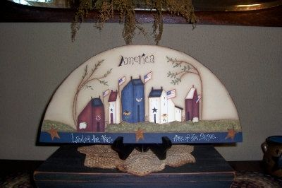 Primitive Americana Saltbox House Wood Door Crown Shelf by Primgal