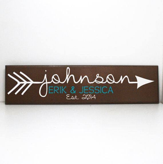 Arrow Custom Last Name Wood Sign  Personalized by LEVinyl on Etsy