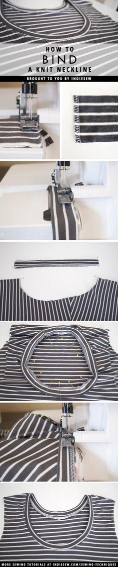 Las Costuras Terminar sus prendas de punto con escotes de aspecto profesional! Este puesto cubre el proceso paso a paso. | Indiesew.com