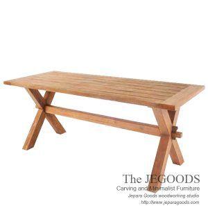 Teak X Farmhouse Dining Table Model Meja Makan Country Farmhouse jati Jepara kokoh, kuat, awet. Jepara Goods Teak Furniture Manufacturer Wholesaler Price.