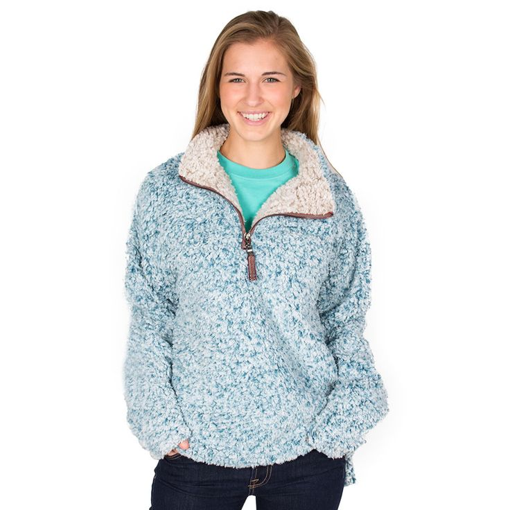 The Original Frosty Tipped Pile 1/2 Zip Pullover in Aqua by True ...